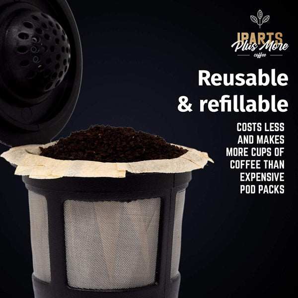 Reusable K-Cup Filter Pods with Compatible Natural Paper Coffee Filter Inserts (2 pack pods + 25 ct filters)