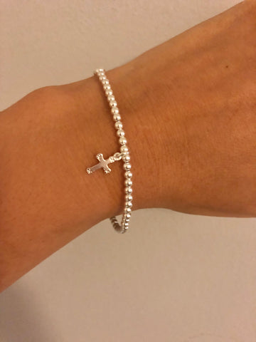 'Ella' Stirling Silver Cross Beaded Bracelet
