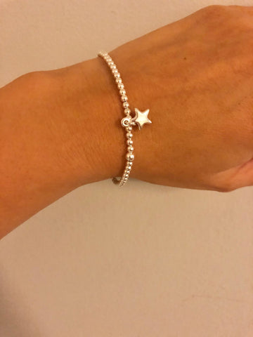 'Ella' Stirling Silver Star Beaded Bracelet