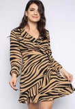 Tiger Frill Wrap Dress