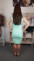 City Goddess Mint Knitted Dress