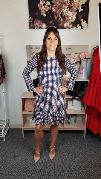 Pink Polka Dot 3/4 Sleeve Pep Hem Dress