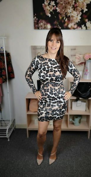 Knitted Leopard Bodycon Dress
