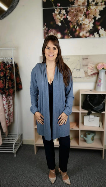 Blue Long Line Cardigan