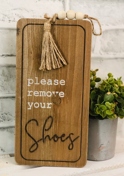 Beaded Remove Your Shoes Sign