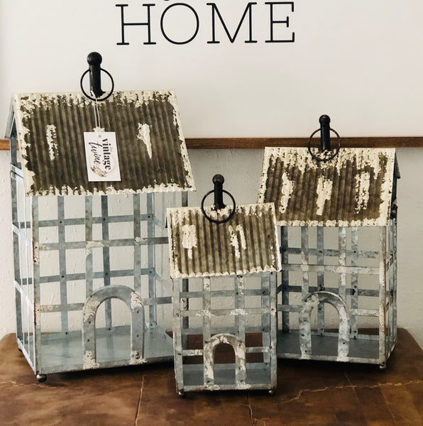 Whitewash Homestead Lanterns Set/3 (CAN NOT BE SHIPPED)