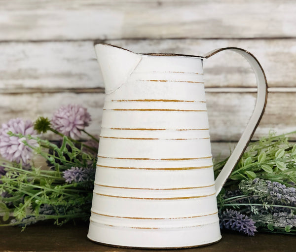 White and Rust Trim Pitcher