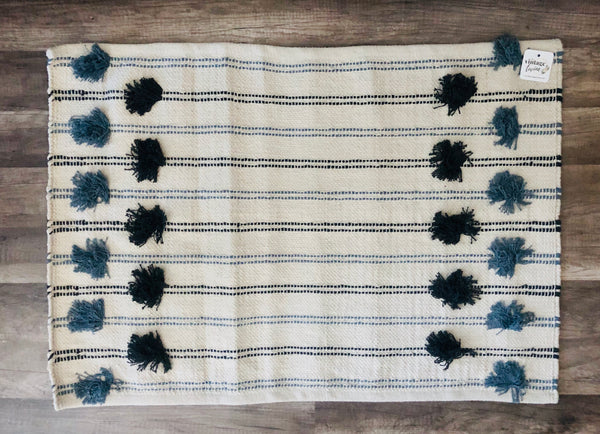 Blue Cottage Pom Rug