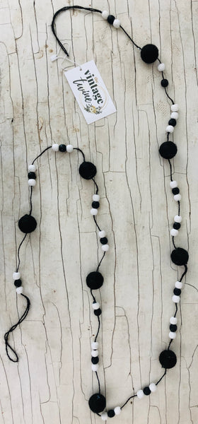 Black and White Beaded Garland