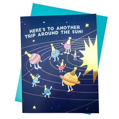 Around the Sun Birthday Card (Gold Foil)
