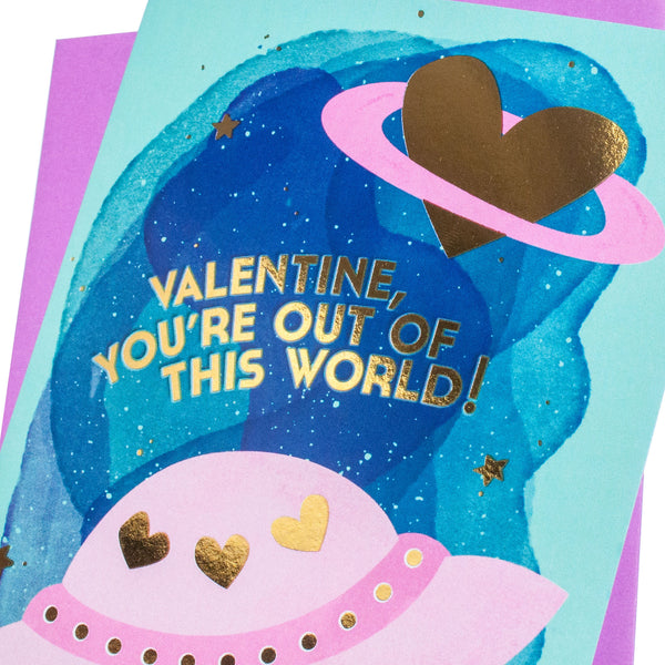 Out of This World Valentines Day Card (Gold Foil)