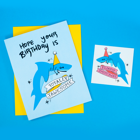 Jawesome Birthday Greeting Card + Temporary Tattoo