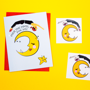 Over the Moon Greeting Card + Temporary Tattoo