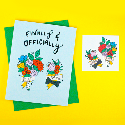 Mr. & Mrs. Greeting Card + Temporary Tattoo