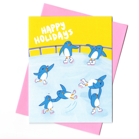 Penguin Skaters Holiday Card