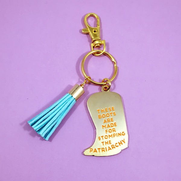 Stomp the Patriarchy Keychain in Pink/Orange