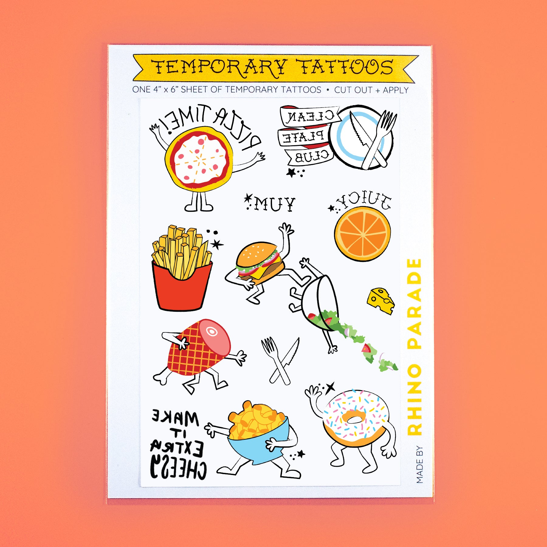 Foodie Temporary Tattoo Sheet
