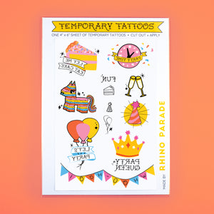 Party Temporary Tattoo Sheet