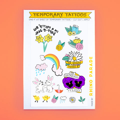 Spring Time Temporary Tattoo Sheet