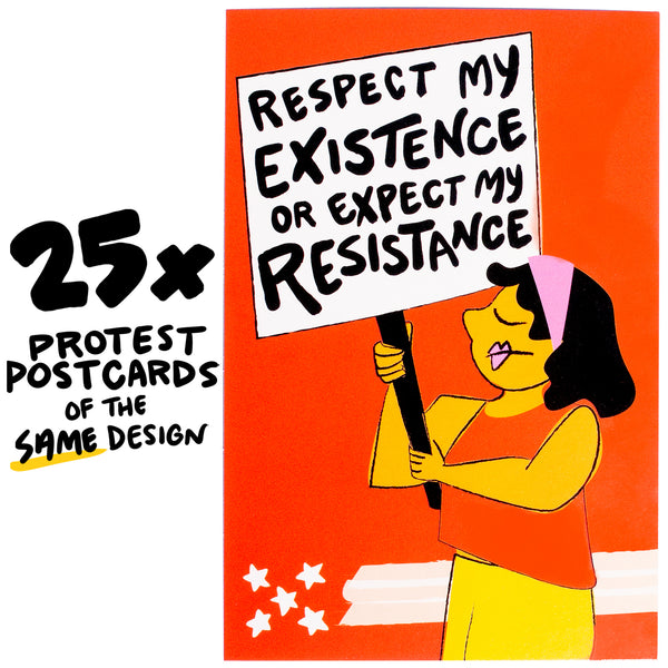 "25x ""Expect My Resistance"" Protest Postcard"