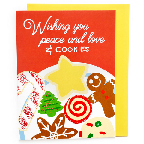 Peace Love and Christmas Cookies Card || holiday card, christmas card, xmas card, merry christmas, funny holiday card