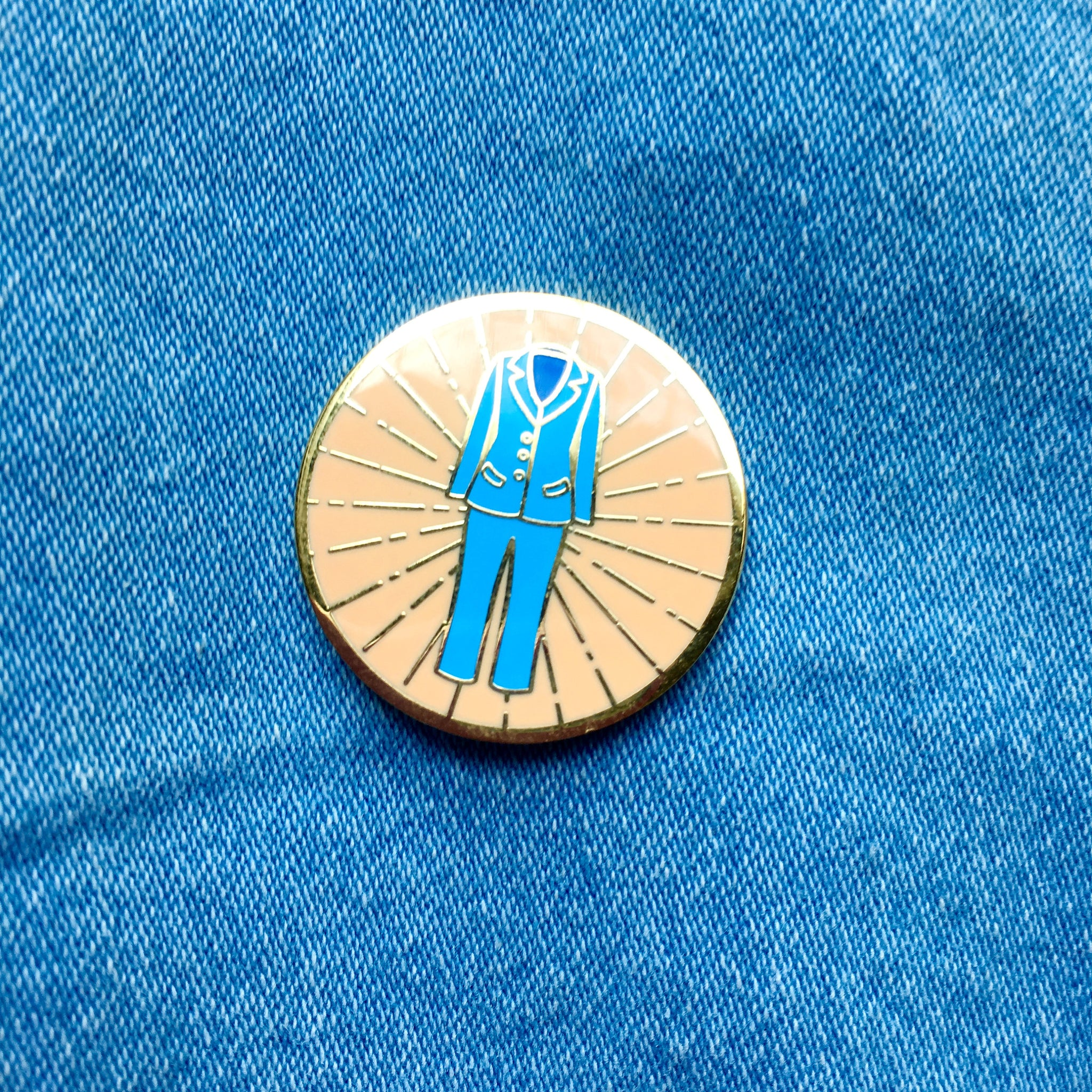 Pantsuit Hard Enamel Pin in Blue