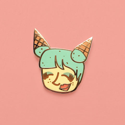 Mint Chocolate Chip Chick hard Enamel Pin