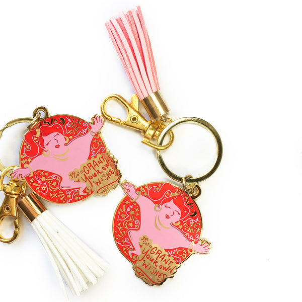 Genie Enamel Keychain in Red