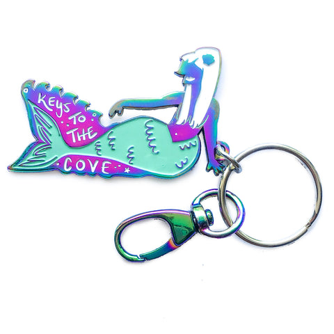 Mermaid Duochrome Enamel Keychain