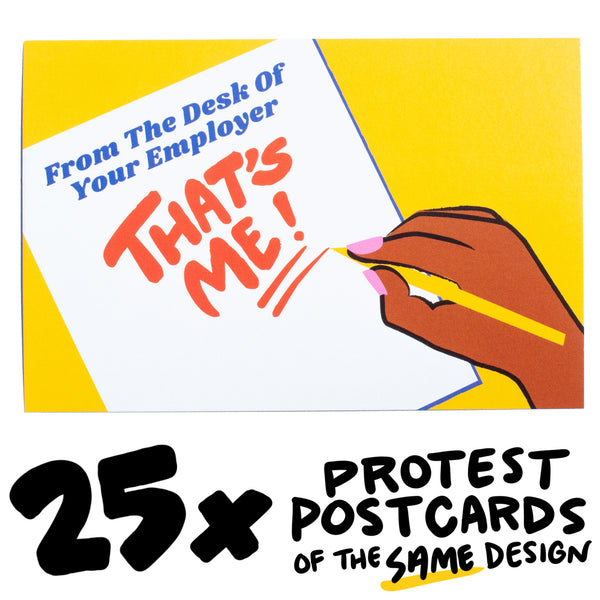 "25x ""Desk of Employer"" Protest Postcard"