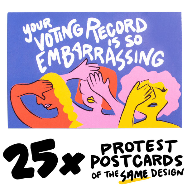"25x ""Embarrassing Record"" Protest Postcard"
