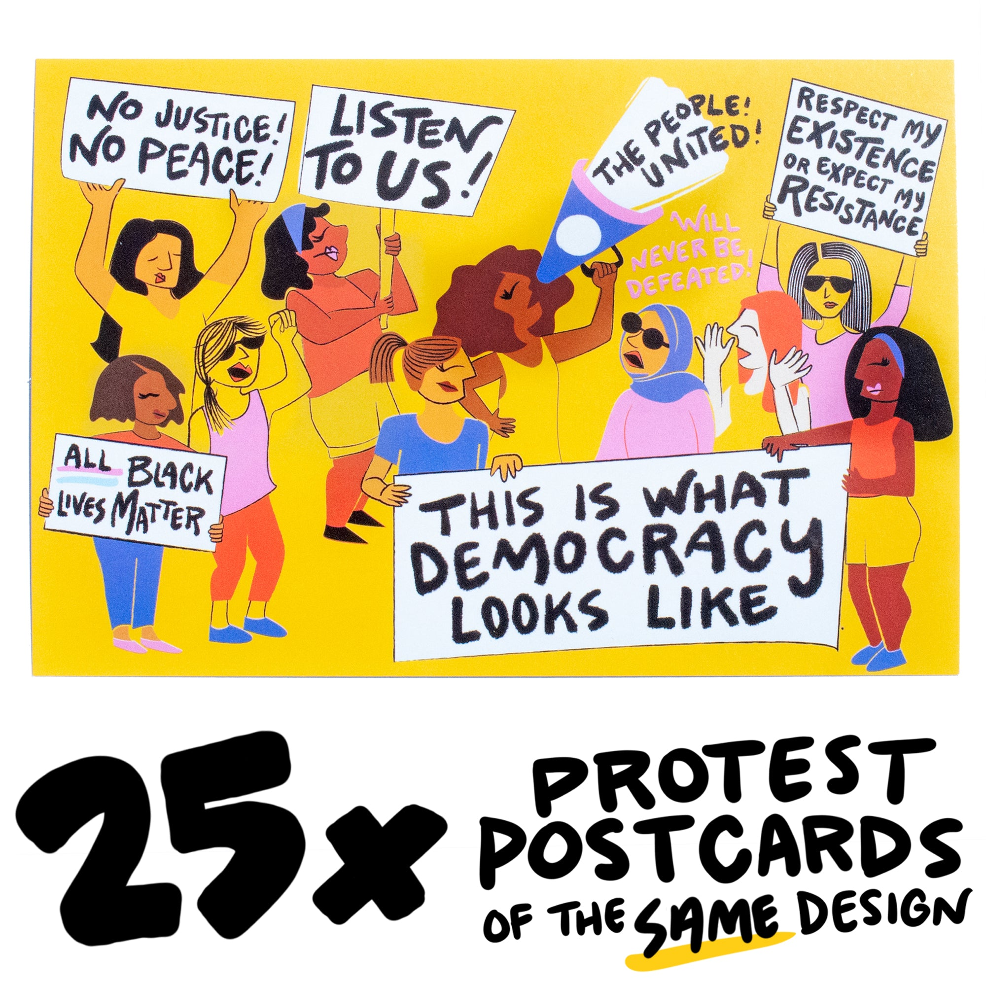 25x Rally Crowd Protest Postcard