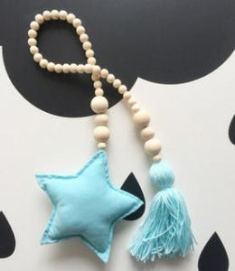 Nordic Style Wooden Star Beads Alex and Gaby Toys Blue Color