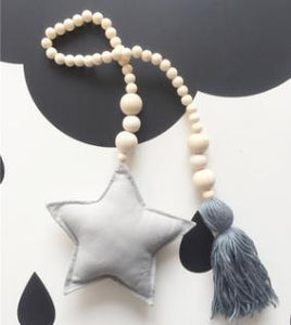 Nordic Style Wooden Star Beads Alex and Gaby Toys Grey color