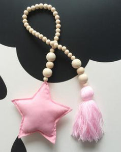 Nordic Style Wooden Star Beads Alex and Gaby Toys Pink Color