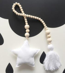 Nordic Style Wooden Star Beads Alex and Gaby Toys White Color
