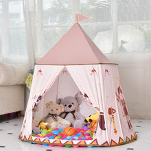Load image into Gallery viewer, Pink Castle Playhouse alex and gaby toys front view in the living room playing kids girls