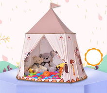 Load image into Gallery viewer, Pink Castle Playhouse alex and gaby toys setup