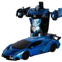 Load image into Gallery viewer, RC Police Car to Robot Transformation black and blue Alex and Gaby Toys
