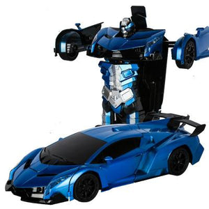 RC Police Car to Robot Transformation black and blue Alex and Gaby Toys