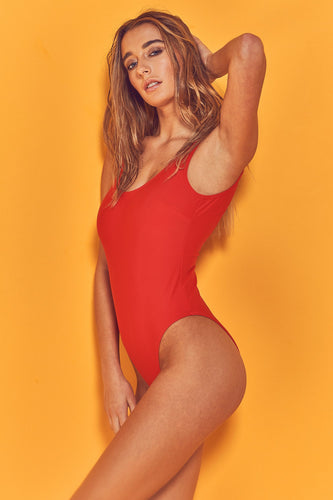 model wears Halley Red Scoop Swimsuit