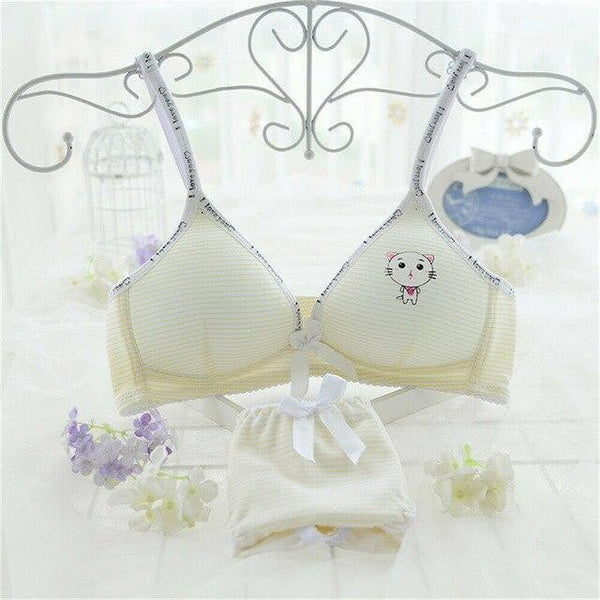 Brief Sets Soft Cotton Bra for Young Girls Kid Underwear Puberty Bras - Mimi's Eco Fashions