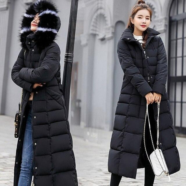 Fashion Winter Coat Women Jackets Thick Down Parkas Hooded Cotton Long Coats Warm Windbreaker - Mimi's Eco Fashions