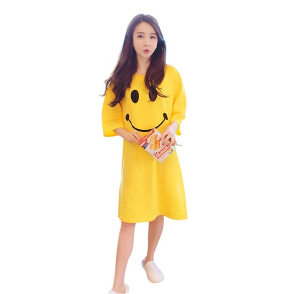 2020 Girl Nightdress Cartoon Smile Face Lovely Soft Cotton Sleep Dress Teenager Nightgown Homewear