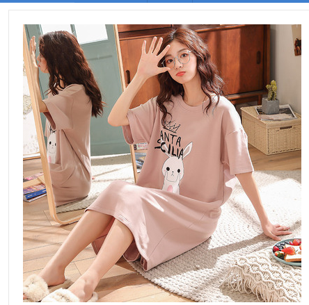 2020 Cotton Nightgown Women Lounge 100% Cotton Nightdress Cartoon Sleepwear Short Sleeve Nightwear