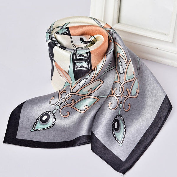 100% Silk Neckerchief Women Flower Print Scarf Ladies Natural Silk Headscarf