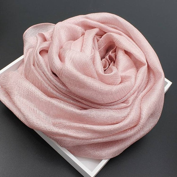 2020 Silk cotton Scarves Women Solid Foulard Shawls Wraps Silk Bandana