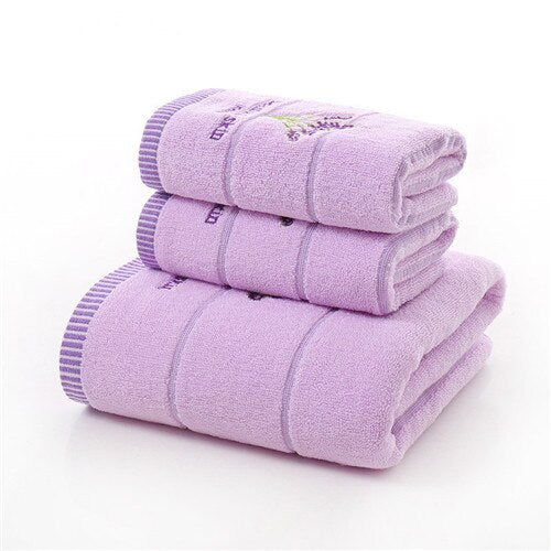 100% Cotton Lavender Towel Sets One Piece Bath Towel Face Towels Gift Towel Set