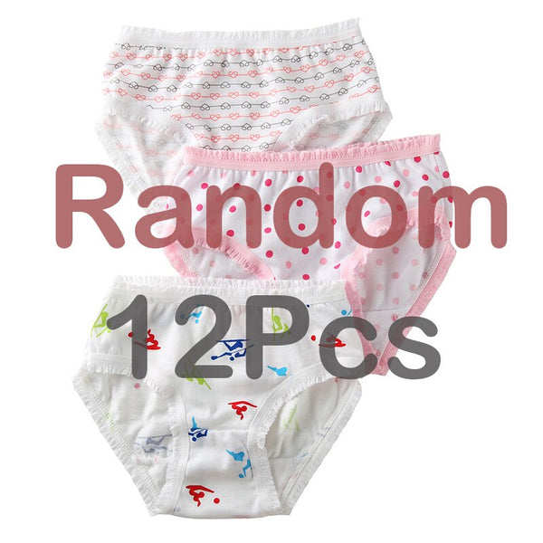 12 Pcs / Lot 100% Organic Cotton Girls Briefs Baby Underwear Quality Panties 2-8 y
