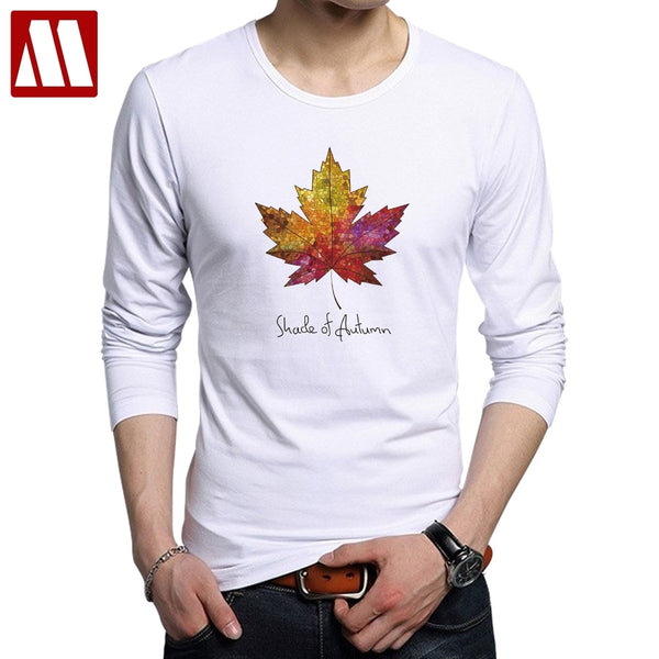 Maple Leaf Long Sleeve T shirt Men Cotton Casual Fashion